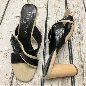 White House Black Market Leather Slip On Heels